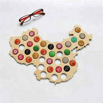 china suppliers laser cut Wood Beer Cap Map