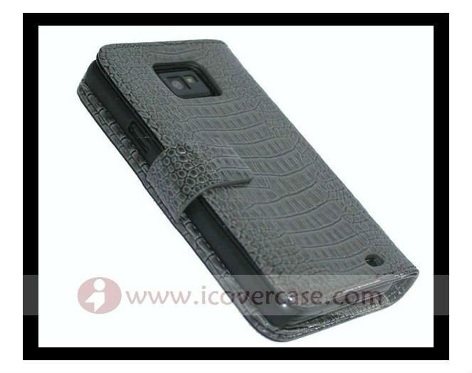 Crocodile leather Wallet Case For Samsung Galaxy S2 i9100,with card holding slot