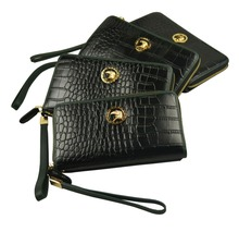long black designer fancy men purse with 100% cowhide leather full wrap