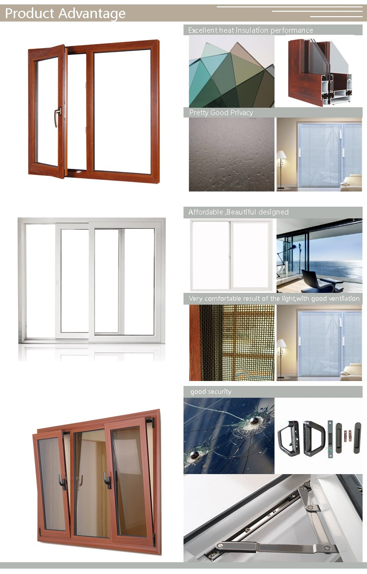 High Quality White Aluminum Frame Clear Tempered Glass Sliding Window with Hard Accessories