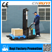 Heavy carriage forklift type shop electric pallet stacker load 1.5T lift 3M