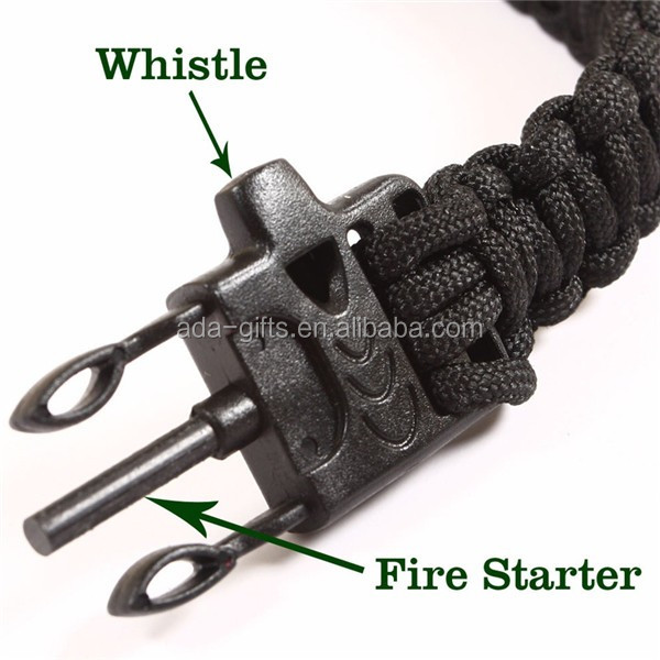Woven 550 cord survival Bracelet Fire starter Buckle Survival Bracelet