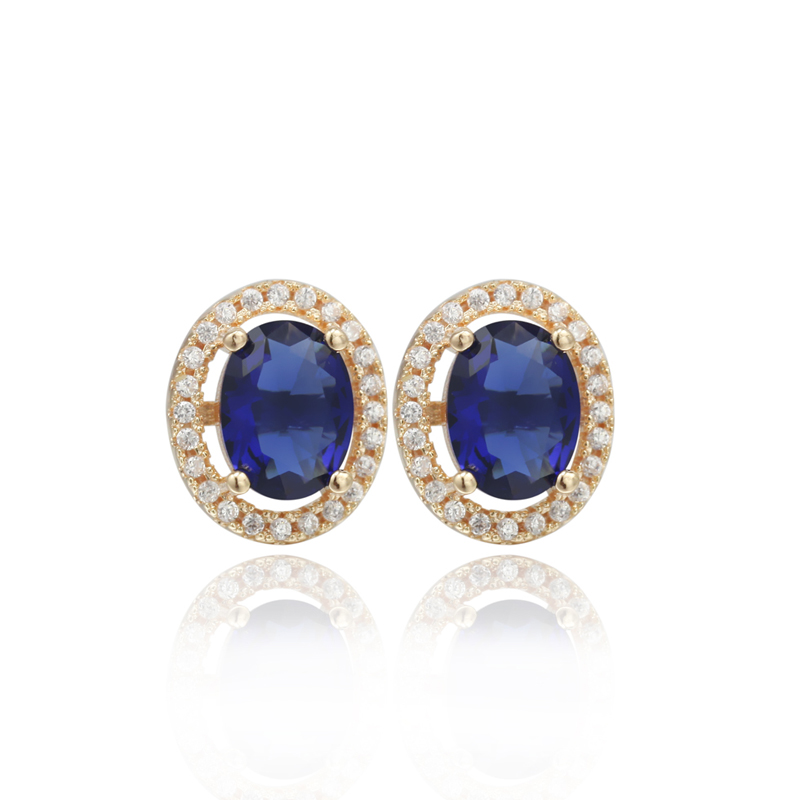 fashion jewelry S925 silver AAA CZ 925 sterling silver gold plated stud earrings