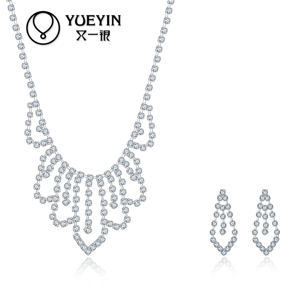 Pretty flower shape necklace earring set, 295 sterling silver plated sets