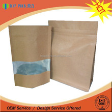 Wholesale kraft paper stand up pouch with zipper top closure with window