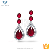 New design eco-friendly Ruby 925 silver drop earrings