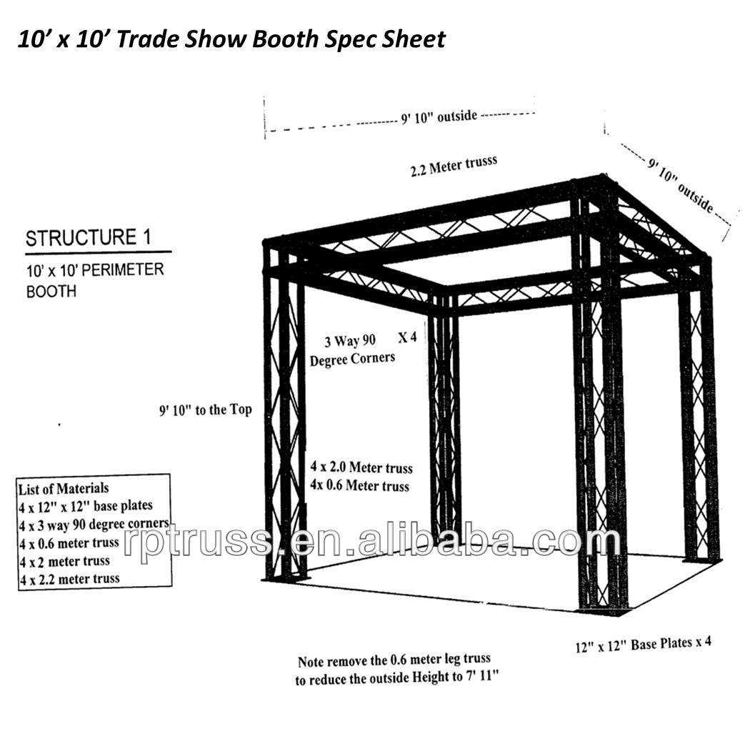 RP 10'x10' Aluminum truss trade show exhibit booth with specifications
