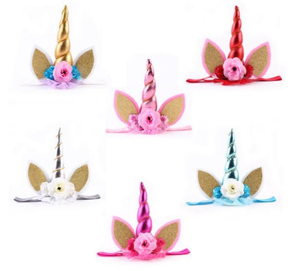 Unique Unicorn Horn with Chiffon Flower Headband Glitter Kids Hairband Easter Bonus For Girls DIY Hair Decorative Accessoriess