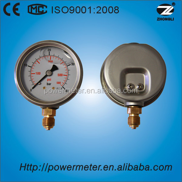 2.5 inch bottom type high quality half ss bar and psi scale water pressure gauge manometer