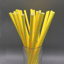25CT Yellow 7.76'' Eco-Friendly Colorful Papar Straws Fancy Disposable Paper Straws 30611