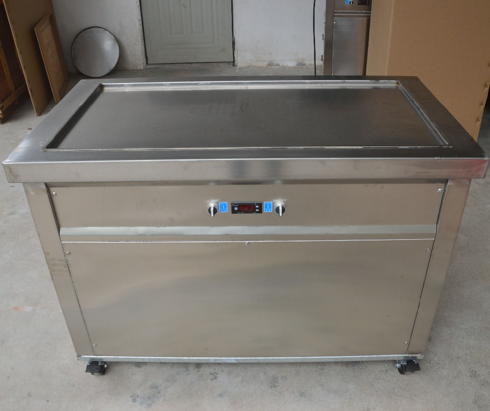 Single retangular pan rolled ice cream maker