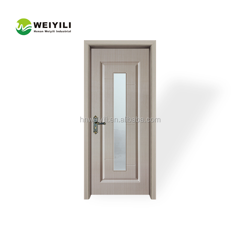 White Colour Classical Design Solid Wooden Door With Frosted Glass