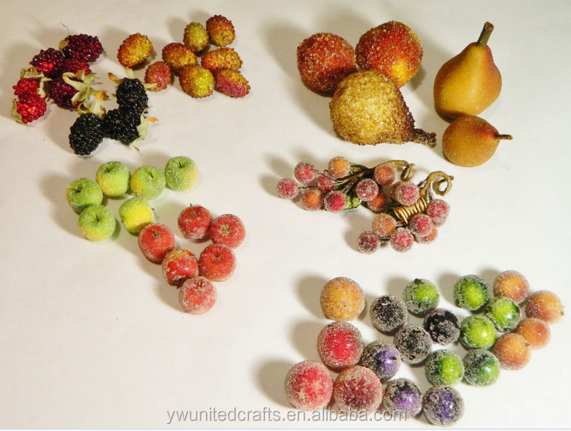 Vintage/Artificial Fruit/Beaded/Sanded/Sugared/Pears/Grapes/Berry/Apple/Lot