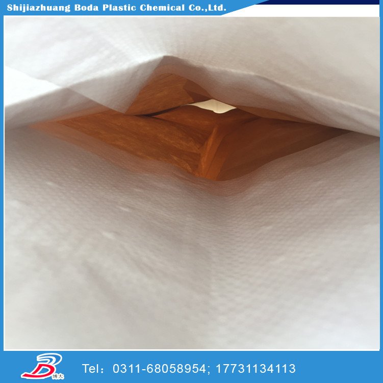 50kg standard plastic pp ad star cement bags with block bottom automatic filling spout valve and Kraft paper inside China 2016