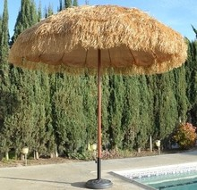 Good quality beach straw raffia hawaii umbrella