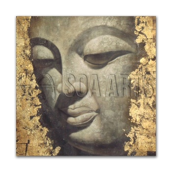 High Quality Modern 3D Buddha Painting with Gold Foil