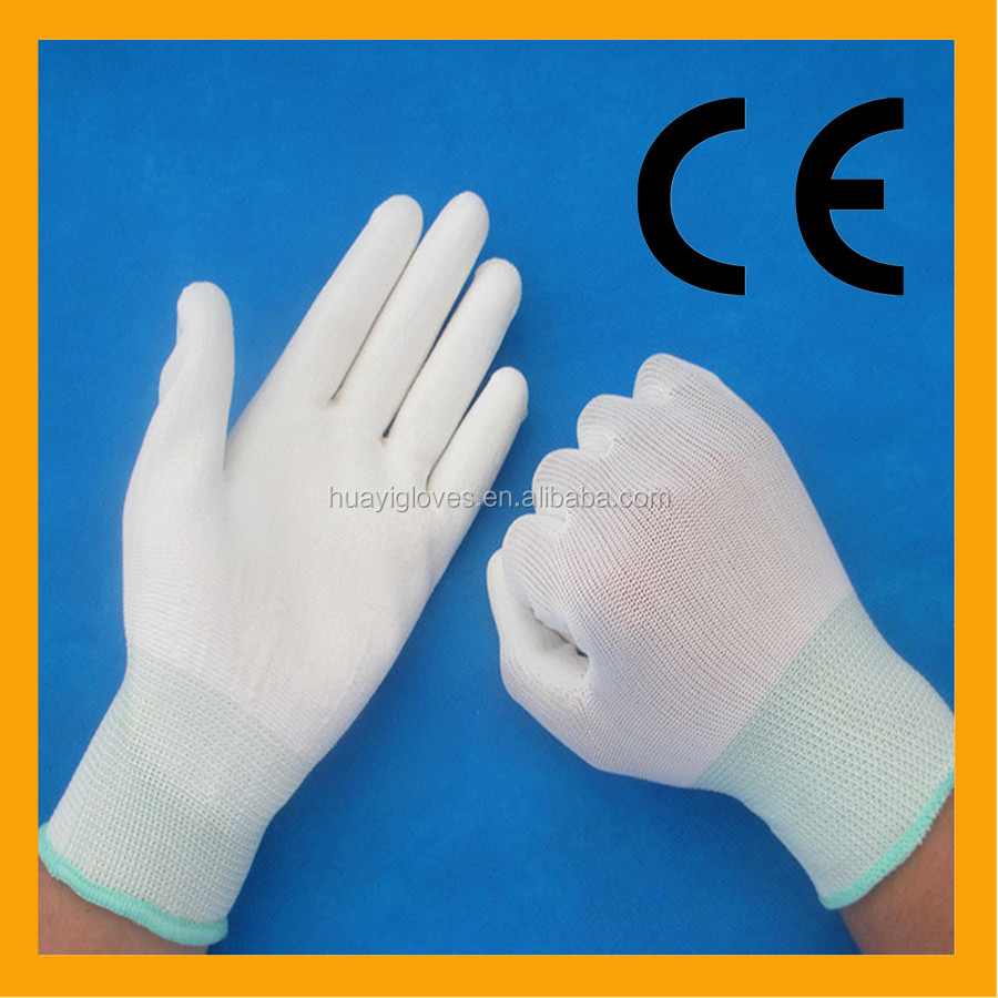 Best Price Assembly Work PU Gloves/13Gauge White PU Safety Gloves/EN388 Palm Fit Gloves For Hand Protection