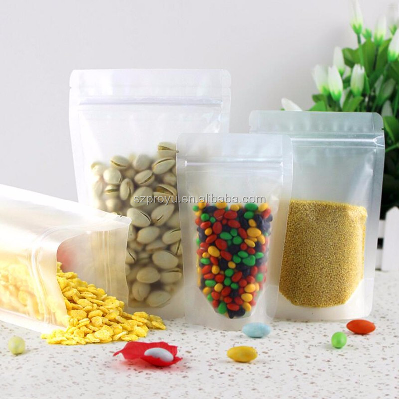 Matte Clear stand up ZipLock bags reusable frosted surface packing Plastic pouch zipper Grip seal food sack pack