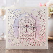 WISHMADE Unique Wedding Invitations Card Kit Laser Cut Birdcage for Engagement Party CW6113