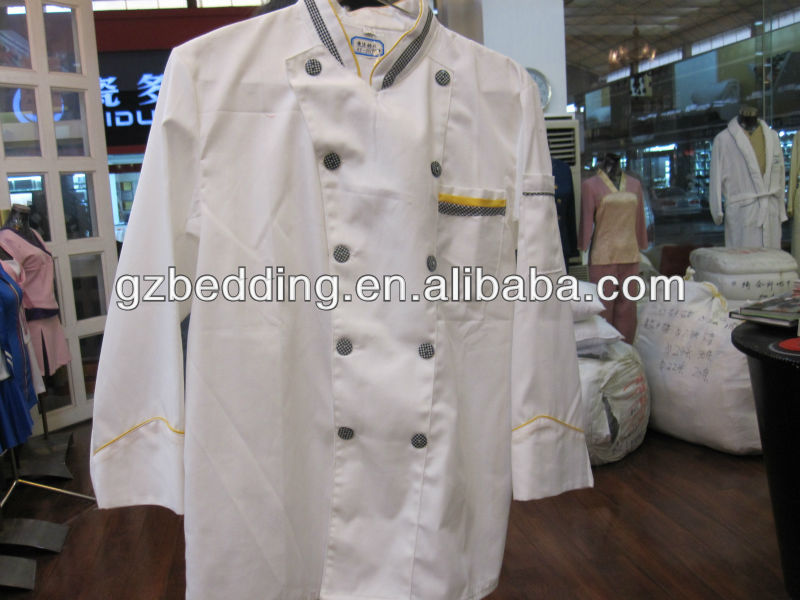 Chef Cook Uniform 100%Cotton Double-breasted Long Sleeve Executive