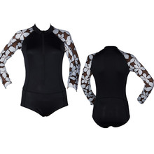 Manufacturer supply spandex and nylon fabric long sleeve custom printed women rash guard