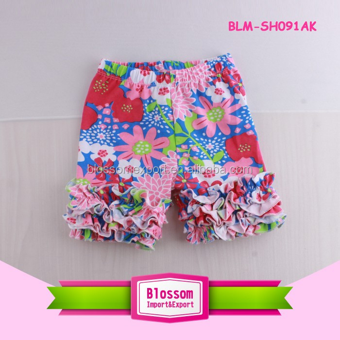 Boutique baby icing ruffle capris shorts fancy floral color girl icing ruffle shorts