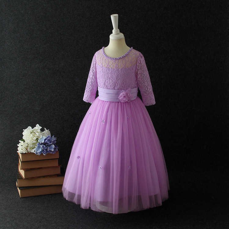 2018 Children Laces Hollow Flower Long Lace Wedding Dresses Patterns