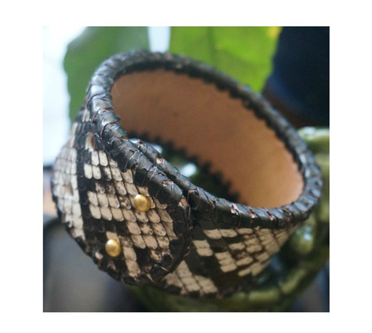 new authentic python leather snake skin wristlet bracelet women real leather hand strap