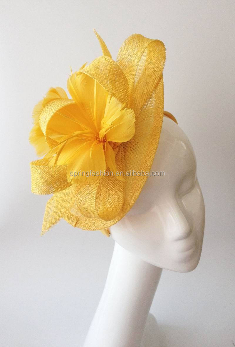 Yellow fascinator wholesale for racing,wedding,party,fashion hair accessory