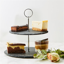 BSCI LFGB Passed Factory Direct 2 Tiers Natural Black Round Slate Cake Stand Wholesale
