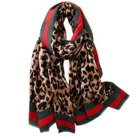 2019 New arrival brand long modern short trims fringes echarpe dupatta hijab lady beautiful cotton print leopard hot scarf