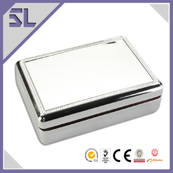 Unique Silver Plated Mirror Jewelry Gift Box Rectangle Shape Silver Metal Jewelry Box
