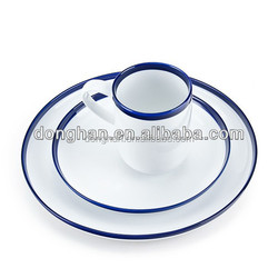 high quality ceramic white tableware with blue color edge and customized logo