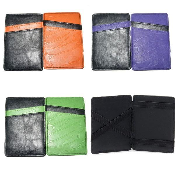 Fashion PU Leather Magic Wallets ID window with 12 credit Card slots Holder for Promotion