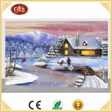Home Decor Village Landscape Canvas Abstract Art Painting Theme