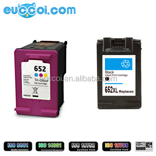 factory inkjet cartridge for HP 652XL black color remanufactured printing inkjet and cartridge for HP Deskjet 1115/2135/2136