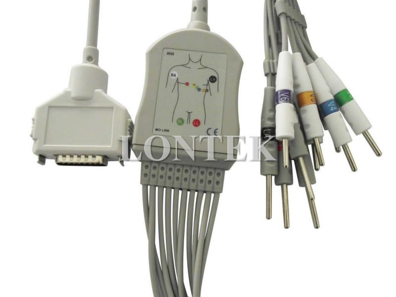 FX-101 Fukuda Denshi ECG/EKG cable with 12 leadwire,Din3.0 type,TPU material,CE/ISO13485 approved