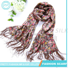 Double sided long style flower printed 100% silkworm silk shawl with tassel