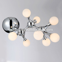china supplier new product DHA shape white glass and chrome metal Ceiling lighting