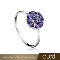 OUXI violet flower 925 silver stone ring for women Y70082