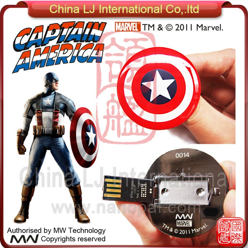 custom cartoon usb flash drive, Captain America Shield pen drive, customize Marvel Comics usb drive