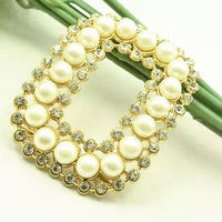 Rectangle Crystal Pearl Shoe Clip Jewelry