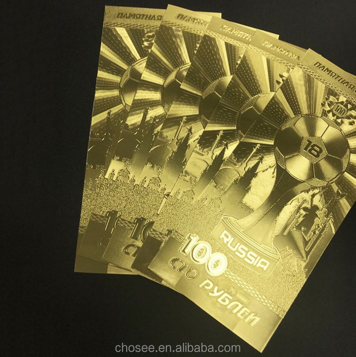 popular 2018 world cup russia 100 ruble gold foil collective note gift