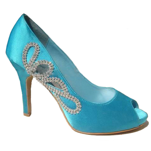 Fancy blue color popular women wedding shoes and matching bag