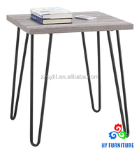 Retro style wooden side table metal legs wood top end table wholesale