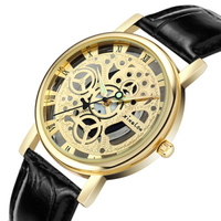 Hot sell men cheap leather western wrist watches with luminous hands