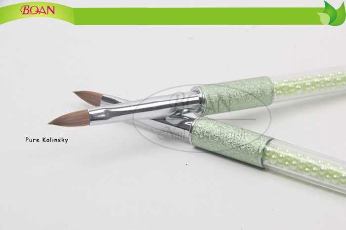 2016 New Design Acrylic Handle With Diamond Inside Pure Kolinsky Arcylic Nail Brush