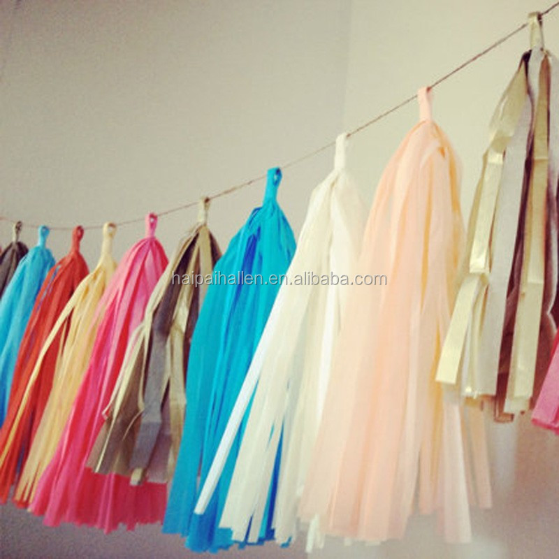 Christmas party decoration 12ft handmade tissue paper garland tassel