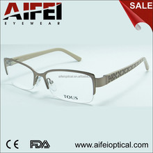 Stainless steel sliver half-rim women fashion eyeglasses frame with acetate temple