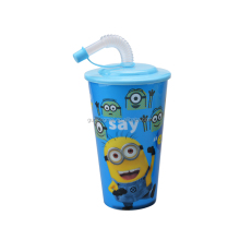 Hot Selling Printing Any Color 3D Lenticular Printing Plastic Cup with lid and straw